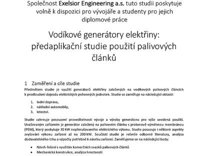 Vodíkové generátory elektřiny: předaplikační studie použití palivových článků