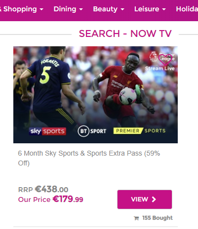 Savvy spending saved me €259 on NowTV Sky Sports