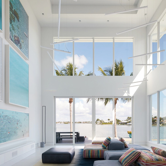 Great room with artwork