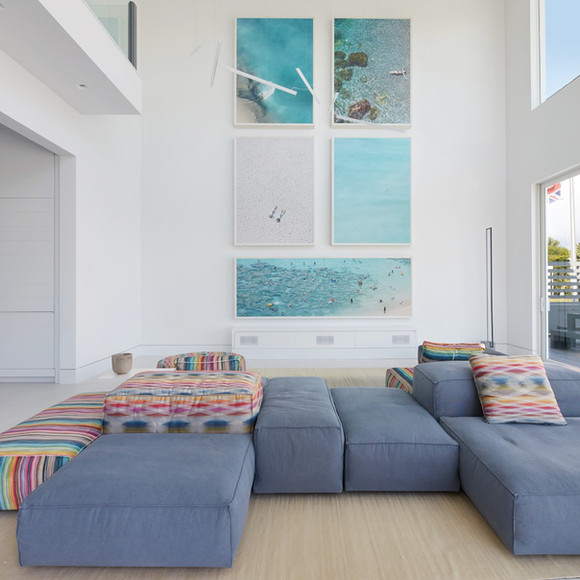 Great room with ariel photo art