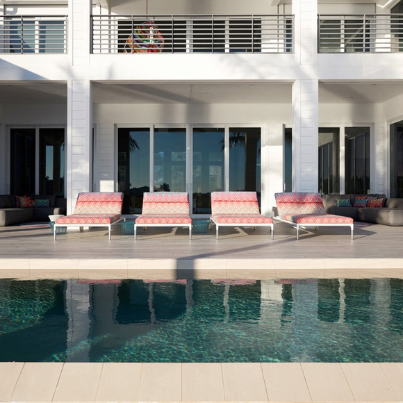Rear deck, loungers and pool
