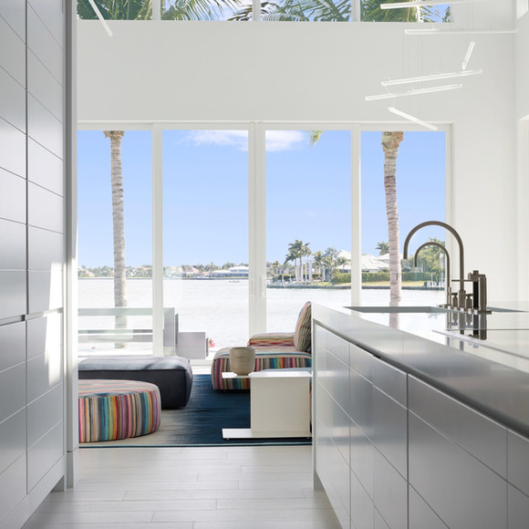 Kitchen to Great room and the bay beyond