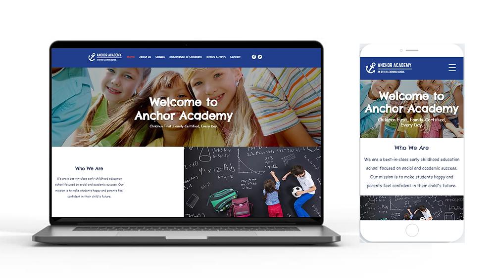 New anchor academy desktop and mobile website