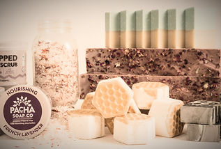 Pacha Soap Co hand pours all of the soaps right in Hastings, Nebrask. Along with soaps, they make whipped scrubs, froth bombs to  luxuriate your bath experience, and essental oil bath salts. The Pacha Soap Company takes giving to a whole new level, and their green inititive business practices are something Rejuvenations is proud to partner with!
