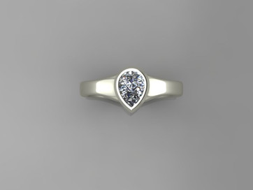 Classic Full Bezel Pear Shaped Solitaire