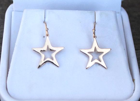 14K Yellow Gold Star Earrings