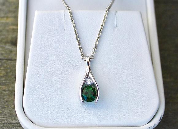 14K White Gold Green Tourmaline and Diamond Pendant