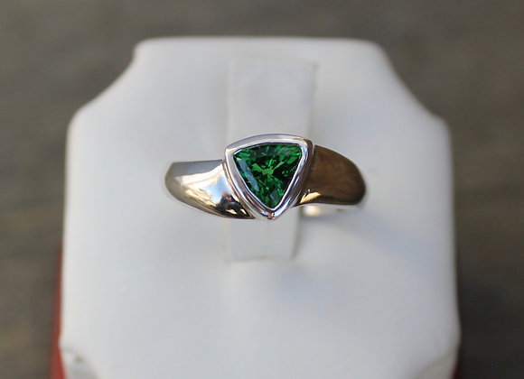 14K White Gold Tsavorite Garnet Ring