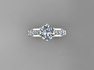 Custom 6 Prong Ring with Channel