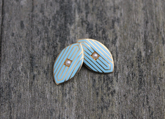 14K Yellow Gold and Enamel Cuff Links