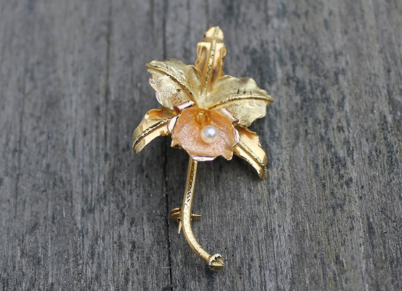 18K Yellow Gold and Pearl Orchid Pin