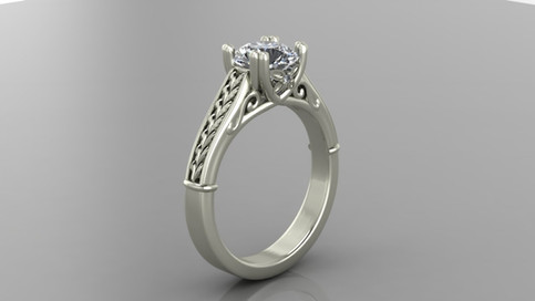 Custom Filigree Diamond Ring with Twin Prongs