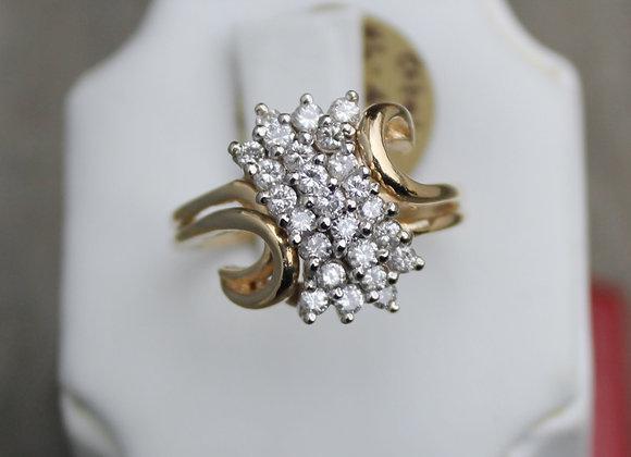 14K Yellow/White Gold Diamond Cluster Ring