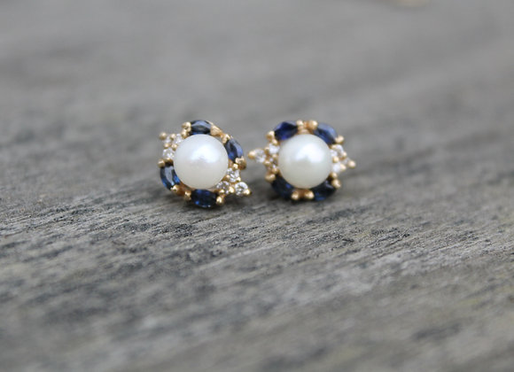 14K Yellow Gold Pearl, Sapphire, and Diamond Earrings