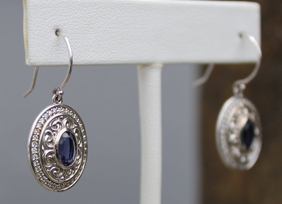 14K White Gold Iolite and Diamond Earrings