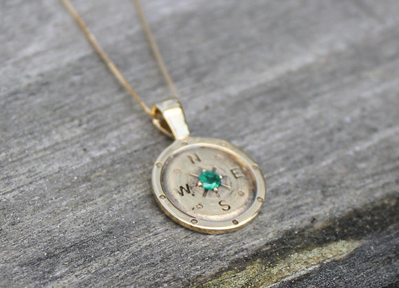 14K Yellow Gold and Emerald Compass Pendant
