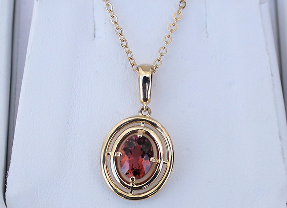 14K Yellow Gold Pink Tourmaline Pendant