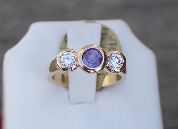 14K Yellow Gold Color Change Purple Sapphire and Diamond Ring