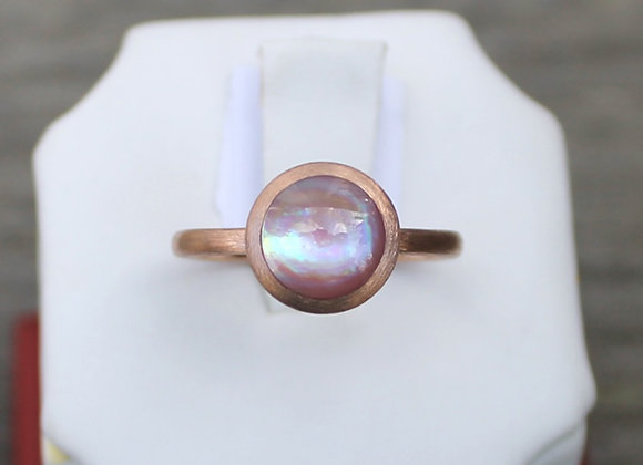 14K Rose Gold Pink Mother of Pearl Ring