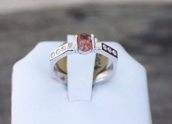 14K White Gold Sunstone and Diamond Ring
