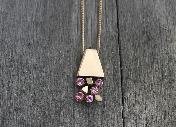 14K Yellow Gold Tourmaline Flower Pot Necklace