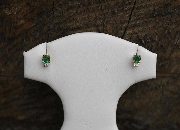 14K Yellow Gold Emerald and Diamond Studs