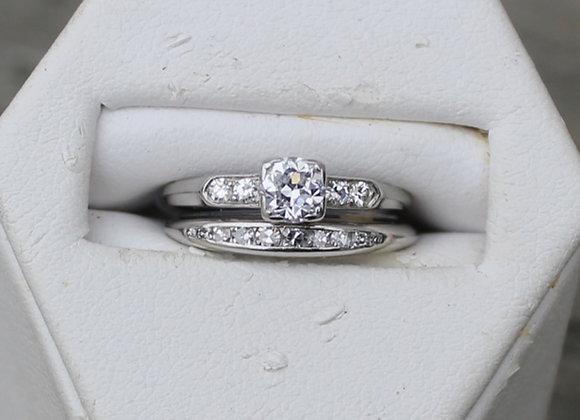 Platinum Mine Cut Diamond Ring and Band Set