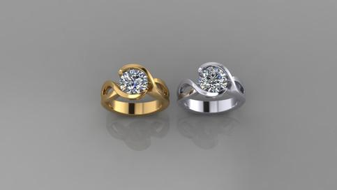 Custom Half Bezel Design in Yellow and White Gold
