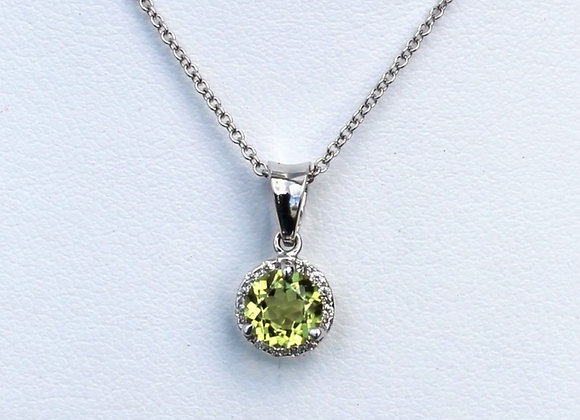 14K White Gold Peridot Pendant and Stud Set