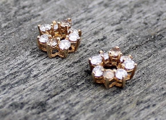 14K Yellow Gold Diamond Ear Jackets