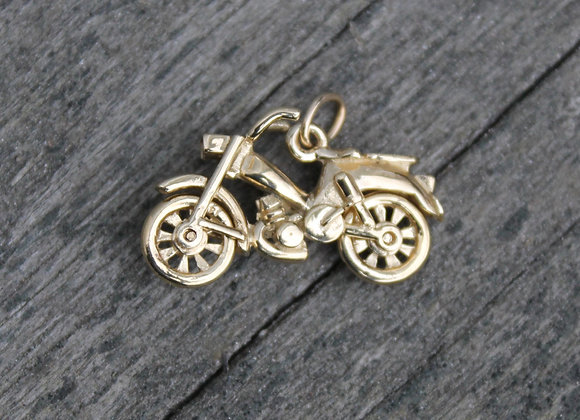 14K Yellow Gold Motorcycle Charm