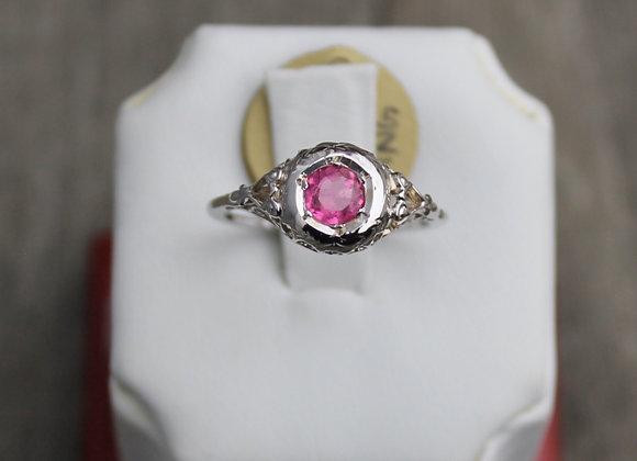 18K White Gold Pink Tourmaline Vintage Ring