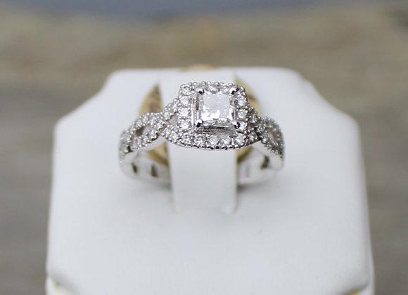 14K White Gold Diamond Twist Ring