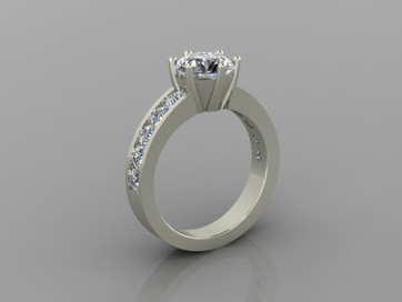 Custom 6 Prong Ring with Channel Side View