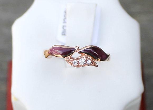 Kabana 14K Rose Gold Spiny Oyster and Diamond Ring