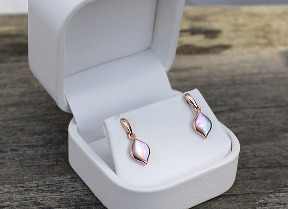 14K Rose Gold Pink Mother Of Pearl Earrings
