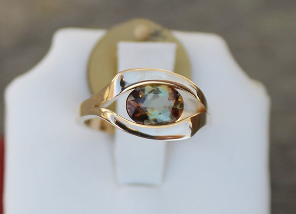 14K Yellow Gold Andalusite Floating Ring