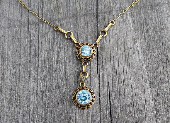 14K Yellow Gold Vintage Blue Topaz Necklace