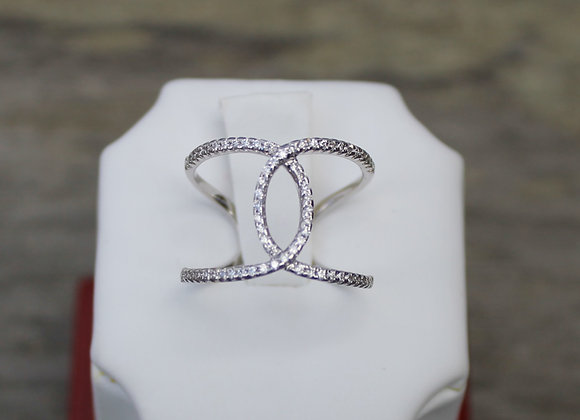 14K White Gold Diamond Crossover Ring