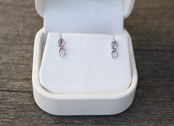 14K White Gold Infinity Stud Earrings