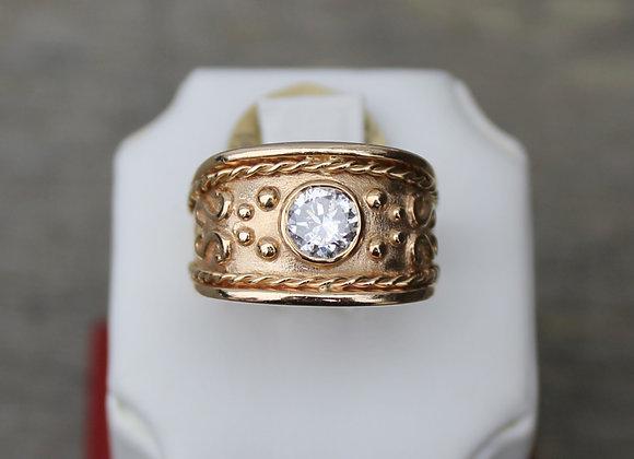 14K Yellow Gold Diamond Mens Ring