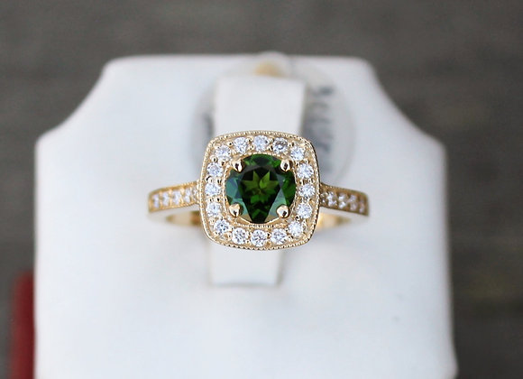 14K Yellow Gold Chrome Tourmaline with Diamond Halo Ring