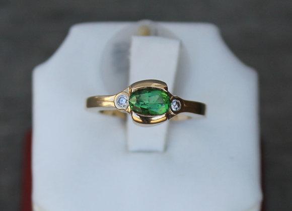 14K Yellow Gold Green Tourmaline and Diamond Ring