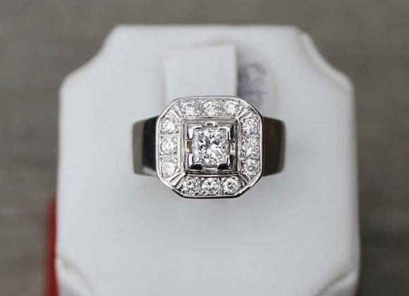 14K White Gold Princess Cut Halo Ring