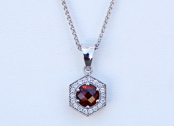 14K White Gold Garnet and Diamond Halo Pendant