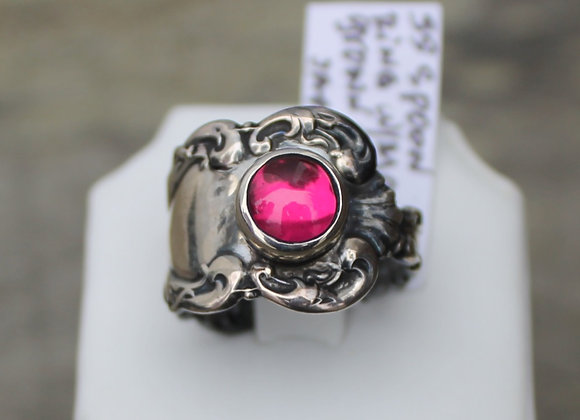 Sterling Silver Pink Sapphire Spoon Ring