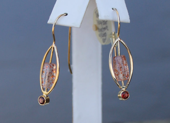 14K Yellow Gold Sunstone and Garnet Earrings