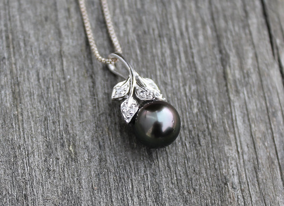 14K White Gold Black Tahitian Pearl Pendant