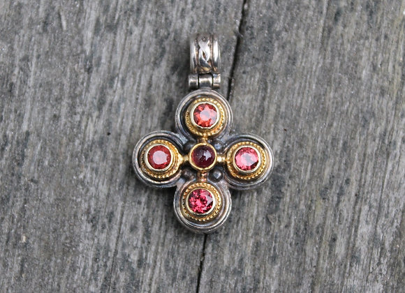SS and 18K Yellow Gold Pink Tourmaline Pendant
