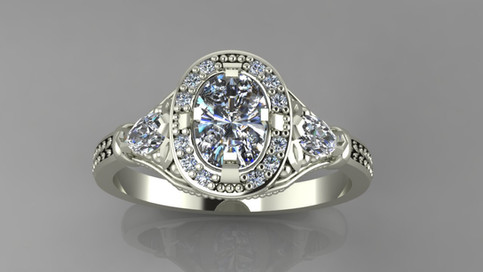 Diamond Halo Multistone Ring